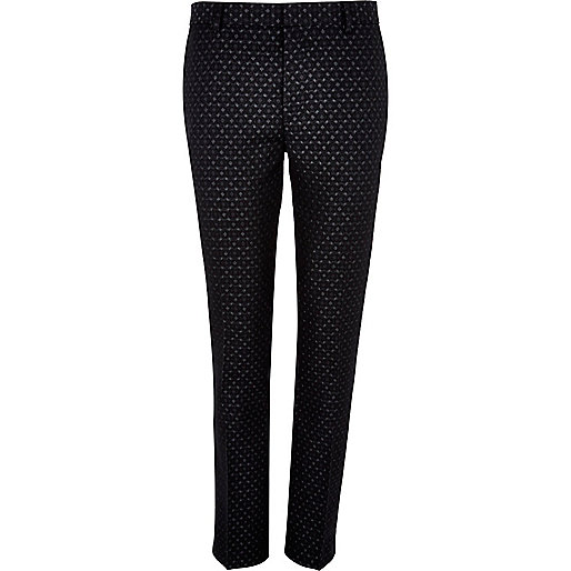 Black jacquard skinny smart trousers