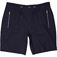Navy zip pocket casual shorts