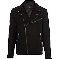 Black wool smart biker jacket
