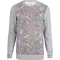 Grey tattoo front print sweatshirt