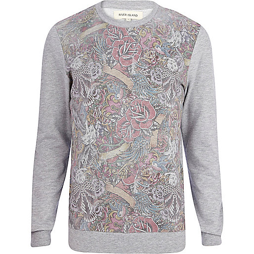 Grey tattoo front print sweatshirt