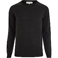 Dark grey raglan sleeve jumper