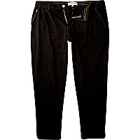 Black overdye slim carrot trousers