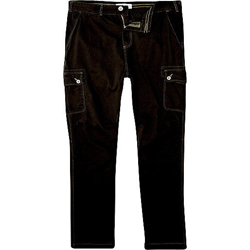 Black slim carrot cargo trousers