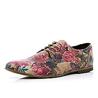 Brown floral print formal shoes