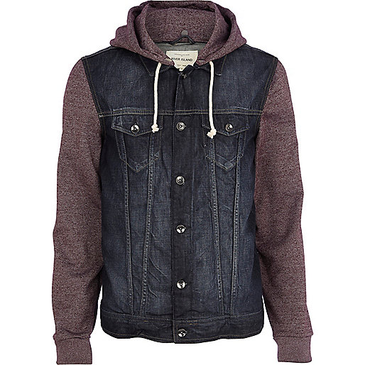 Dark red jersey sleeve denim jacket