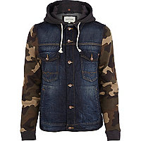 Navy camo print sleeve denim jacket