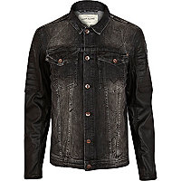 Grey biker sleeve denim jacket