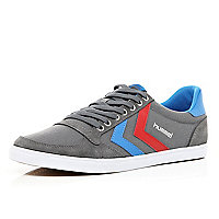 Grey Hummel contrast stripe slim trainers