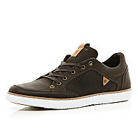Brown contrast panel lace up trainers