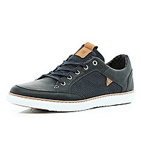 Navy contrast panel lace up trainers