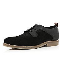Black contrast panel crepe sole shoes