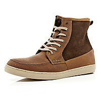 Brown contrast panel smart high tops