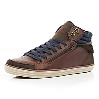 Brown zip panel high tops
