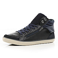 Navy zip panel high tops