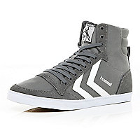 Grey Hummel contrast panel high tops