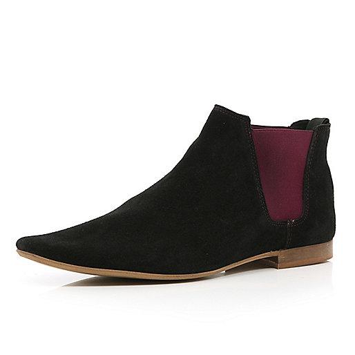 Black contrast gusset chelsea boots