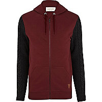 Dark red cable knit sleeve hoodie
