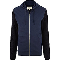 Navy cable knit sleeve hoodie