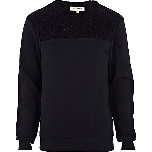 Navy knitted yoke sweatshirt