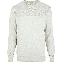 Ecru cable knit yoke sweatshirt