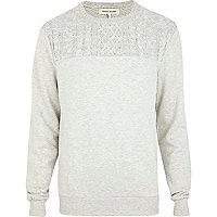 Ecru cable knit yoke sweatshirt