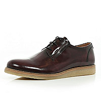 Dark red patent formal lace up shoes