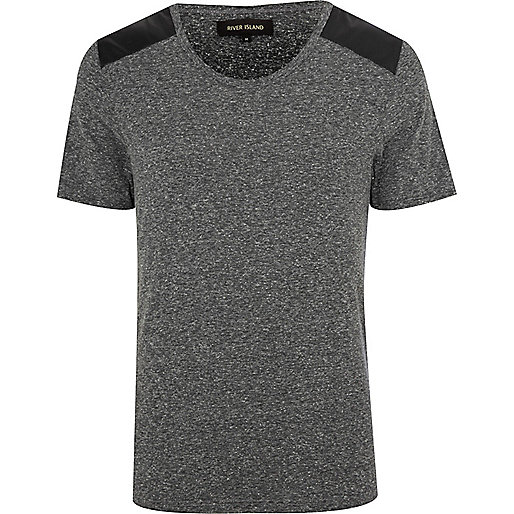 Grey leather-look shoulder patch t-shirt