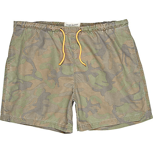 Green camo print swim shorts
