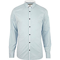 Light blue stripe placket shirt