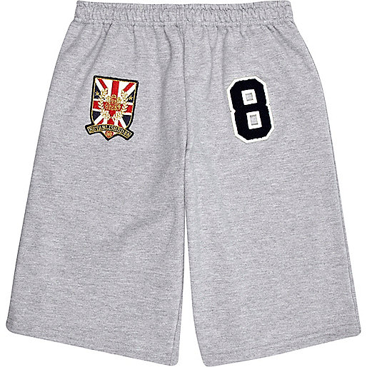 Grey varsity badge shorts