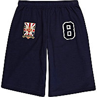 Navy varsity badge shorts