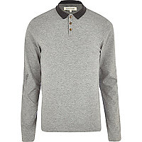 Grey marl long sleeve polo shirt