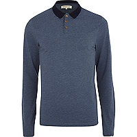 Blue marl long sleeve polo shirt