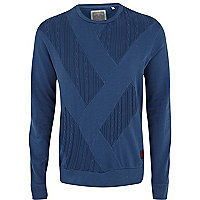 Blue Holloway Road cable panel sweatshirt