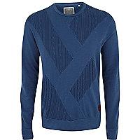 Blue Holloway Road cable panel sweatshirt