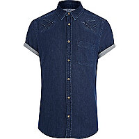 Dark wash swallow embroidered denim shirt