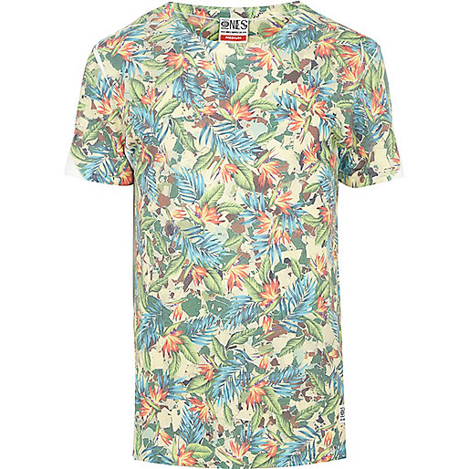 Turquoise Ones Supply Co. leaf print t-shirt
