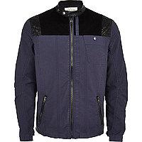 Blue contrast yoke bomber jacket