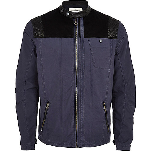Blue contrast yoke bomber jacket