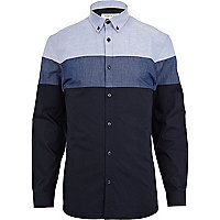 Blue colour block shirt