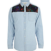 Light wash retro print panel denim shirt