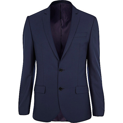 Navy herringbone slim fit suit jacket