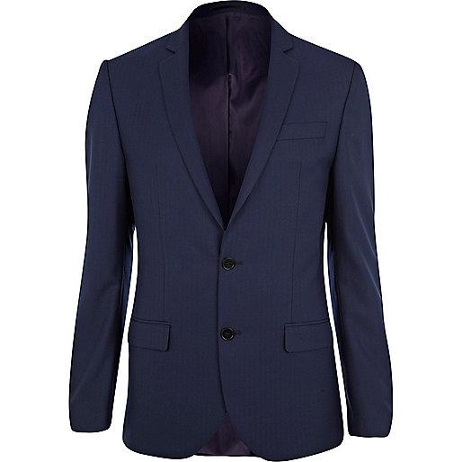 Navy herringbone slim fit suit jacket