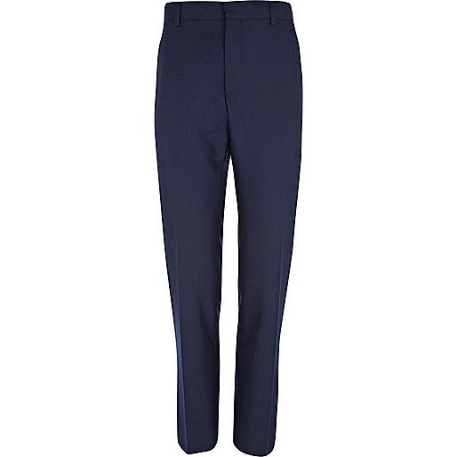 Navy blue herringbone slim suit trousers