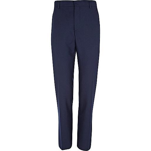 Navy blue herringbone slim suit pants