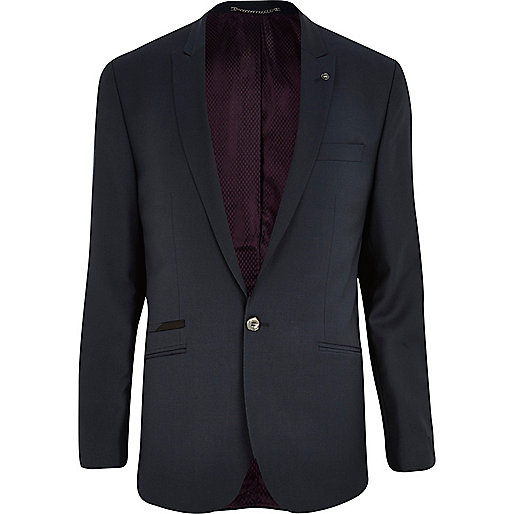 Dark teal slim suit jacket
