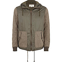 Khaki contrast sleeve hooded bomber jacket