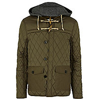 Khaki green quilted contrast patch jacket
