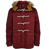 Dark red padded casual duffle jacket